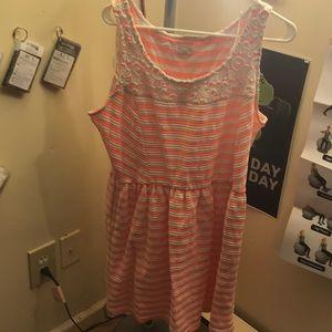 Peach Striped Dress with Pockets